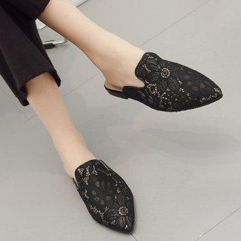 Embroidery Point Toe Lace Mules - BLACK BLACK