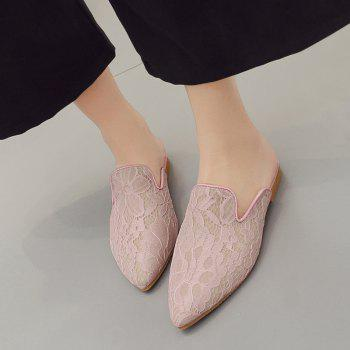 Embroidery Point Toe Lace Mules - LIGHT PINK LIGHT PINK