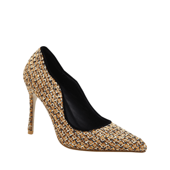 Gien Check Stiletto Heel Sequins Pumps - GOLDEN 40
