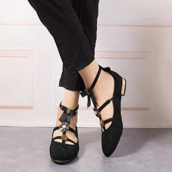 Bow and Rhinestone T-strap Faux Suede Flats - BLACK BLACK