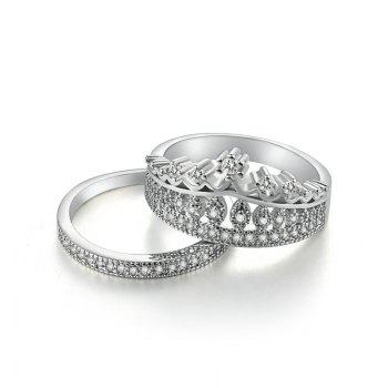 Sparkly Rhinestone Crown Finger Ring Set - SILVER SILVER