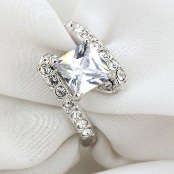 Faux Crystal Rhinestone Sparkly Finger Ring - SILVER SILVER