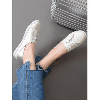 Faux Leather Two Tone Flat Shoes - WHITE WHITE