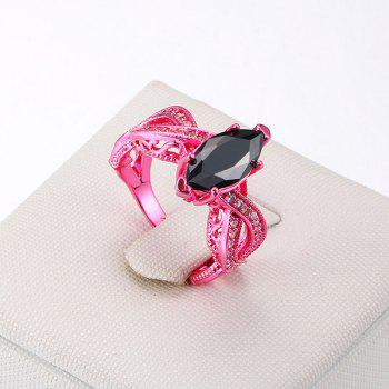 Rhinestone Heart Statement Finger Ring - ROSE RED ROSE RED