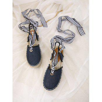Stitching Tie Up Slingback Sandals - DEEP BLUE DEEP BLUE
