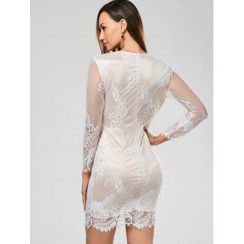 Sexy Plunging Neck Long Sleeve Flower Pattern See-Through Women's Dress - WHITE L