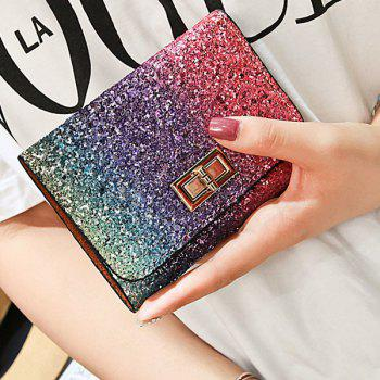 Multicolor Sequins Metal Small Wallet - ROSE RED