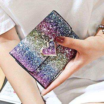 Multicolor Sequins Metal Small Wallet - BLUE/ROSE RED/PURPLE/GREEN