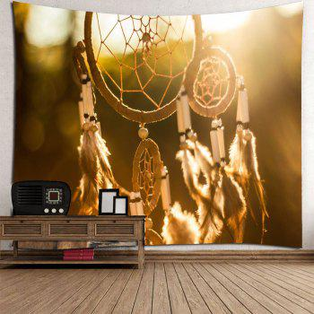 Waterproof Feather Aeolian Bells Pattern Wall Hanging Tapestry - EARTHY W71 INCH * L71 INCH