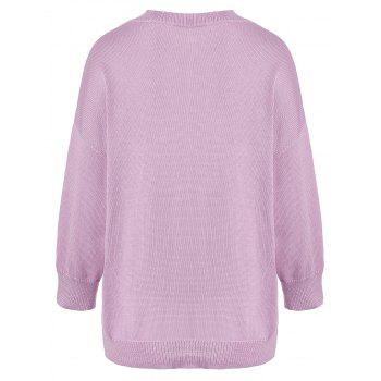 V Neck Plus Size Pocket Knit Sweater - LIGHT PURPLE 5XL