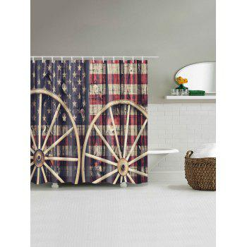 Distressed American Flag Waterproof Shower Curtain - COLORMIX W71 INCH * L71 INCH