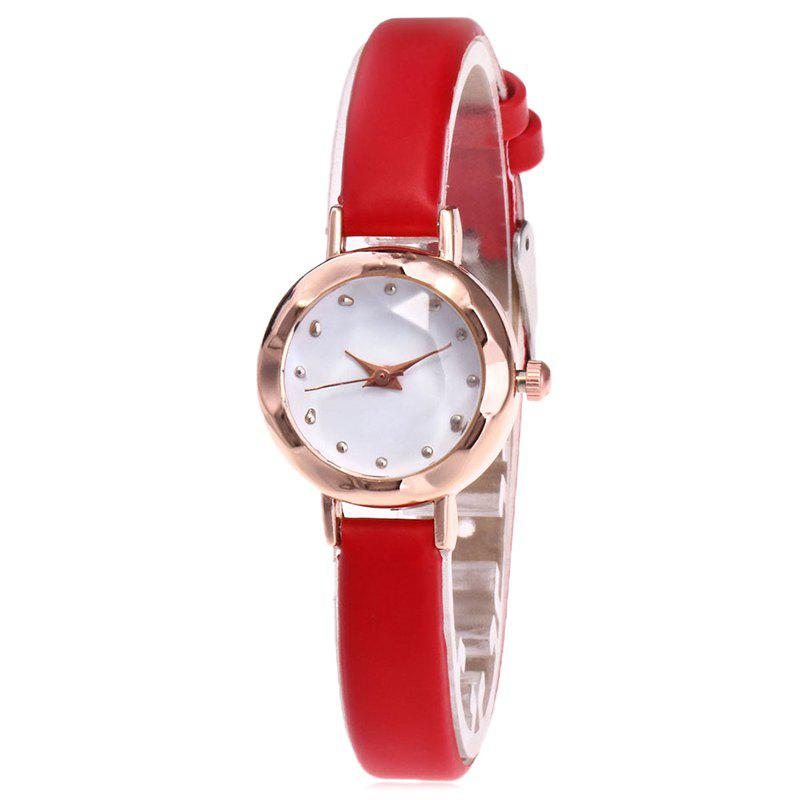 Montre Faux Leather Roundel - Rouge