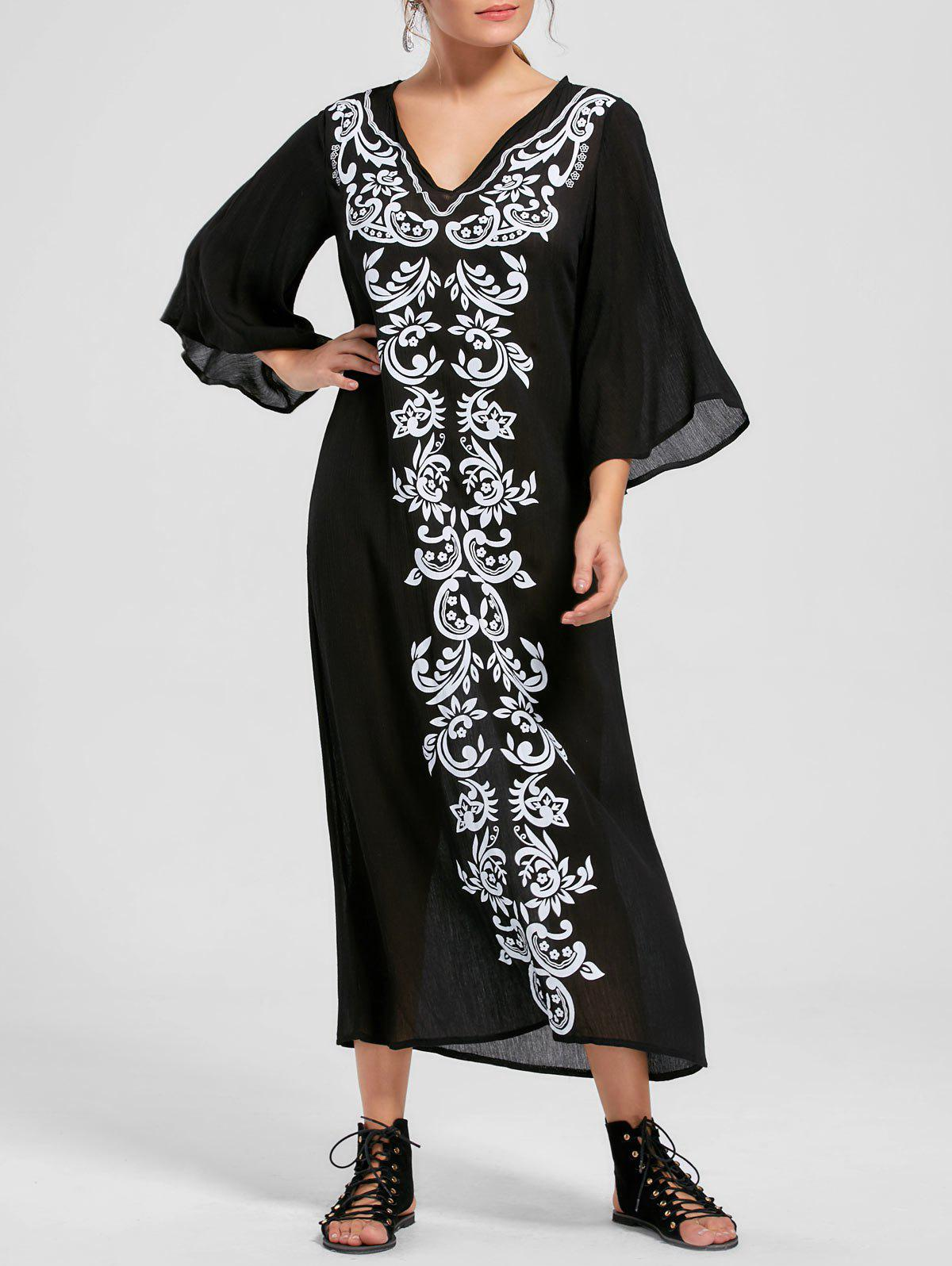 Bandana Floral Flare Sleeve Dress - Noir M