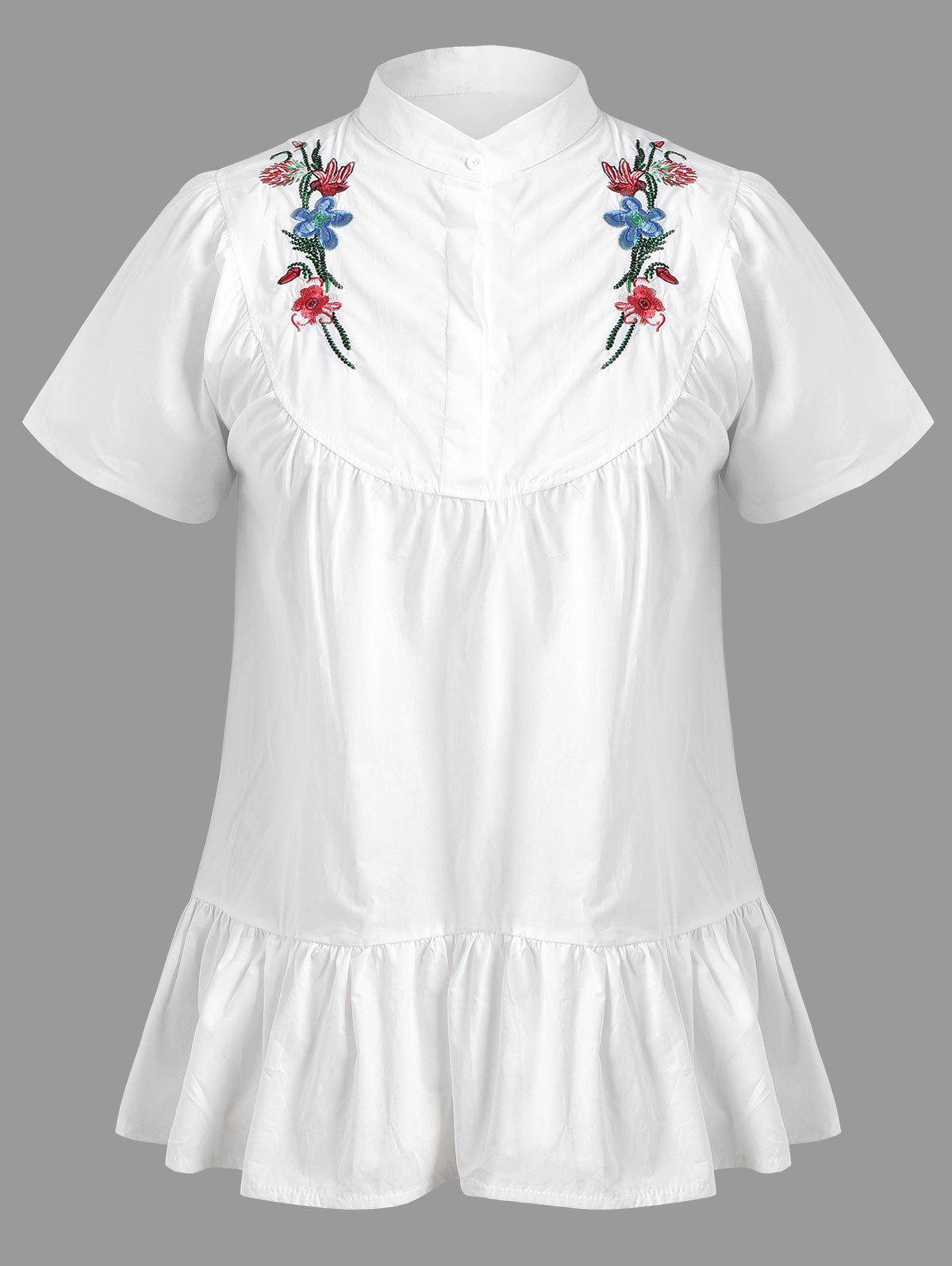 Floral Embroidered Short Sleeve Plus Size Top floral embroidered short sleeve dress