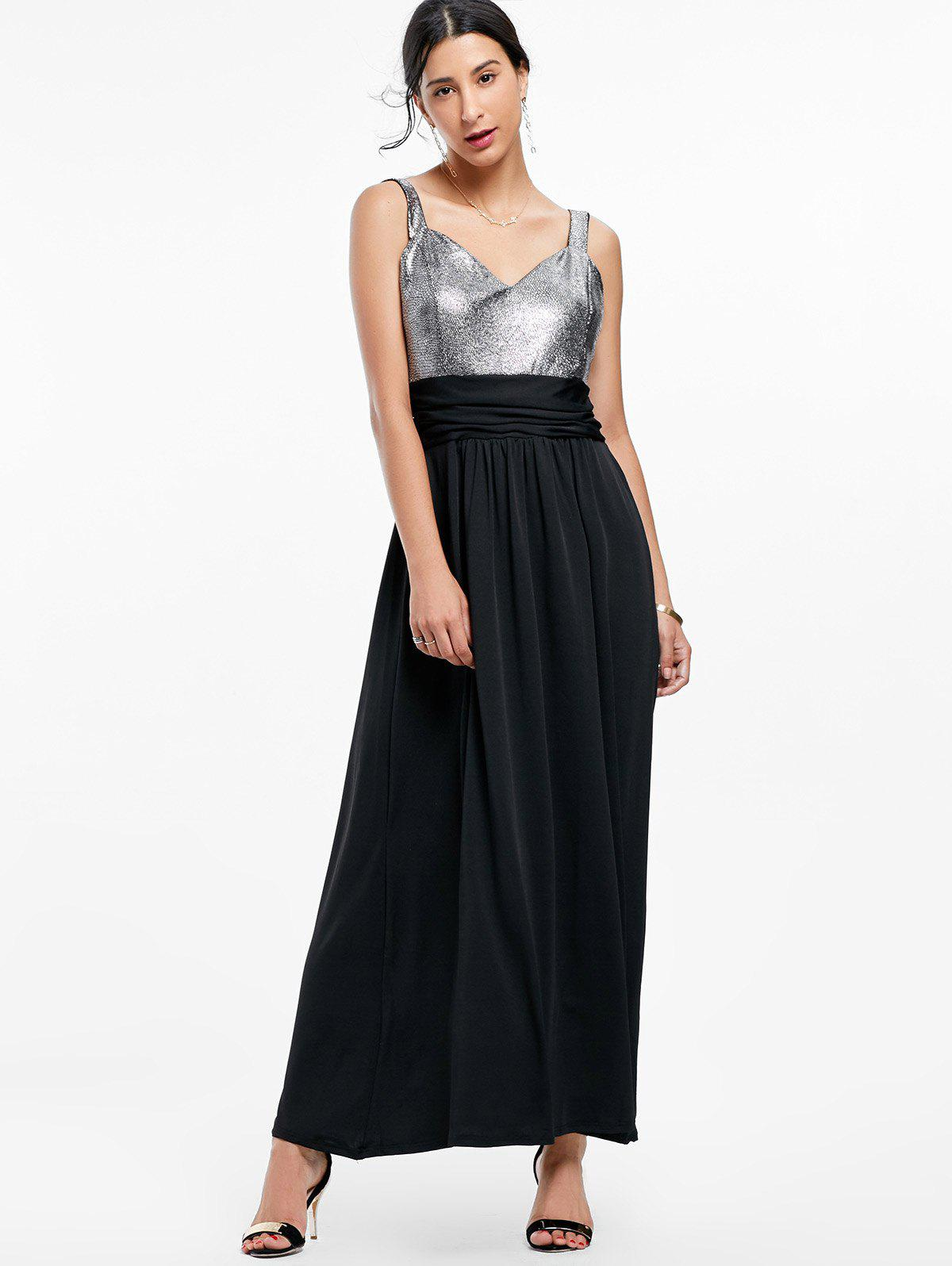 Backless Long Prom Formal Dress - BLACK M