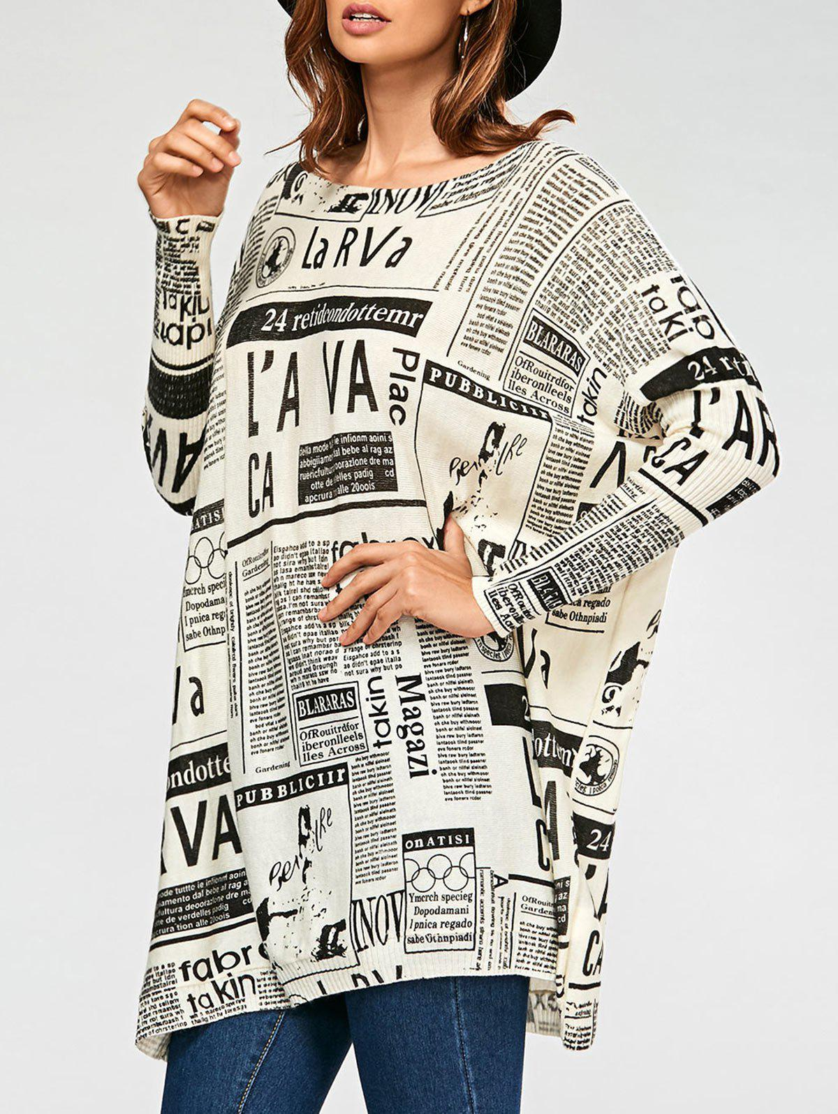 Letters Newspaper Ribbed Drop Shoulder Sweater