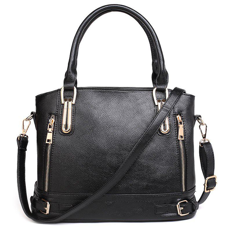 Belt Buckles Zippers Tote Bag - BLACK