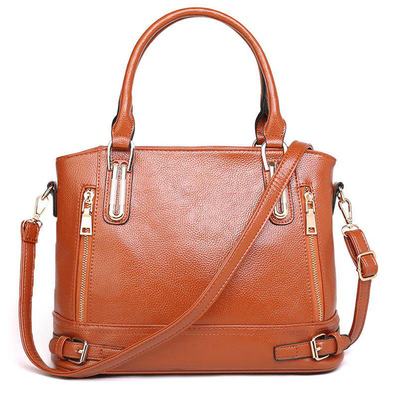 Belt Buckles Zippers Tote Bag - BROWN