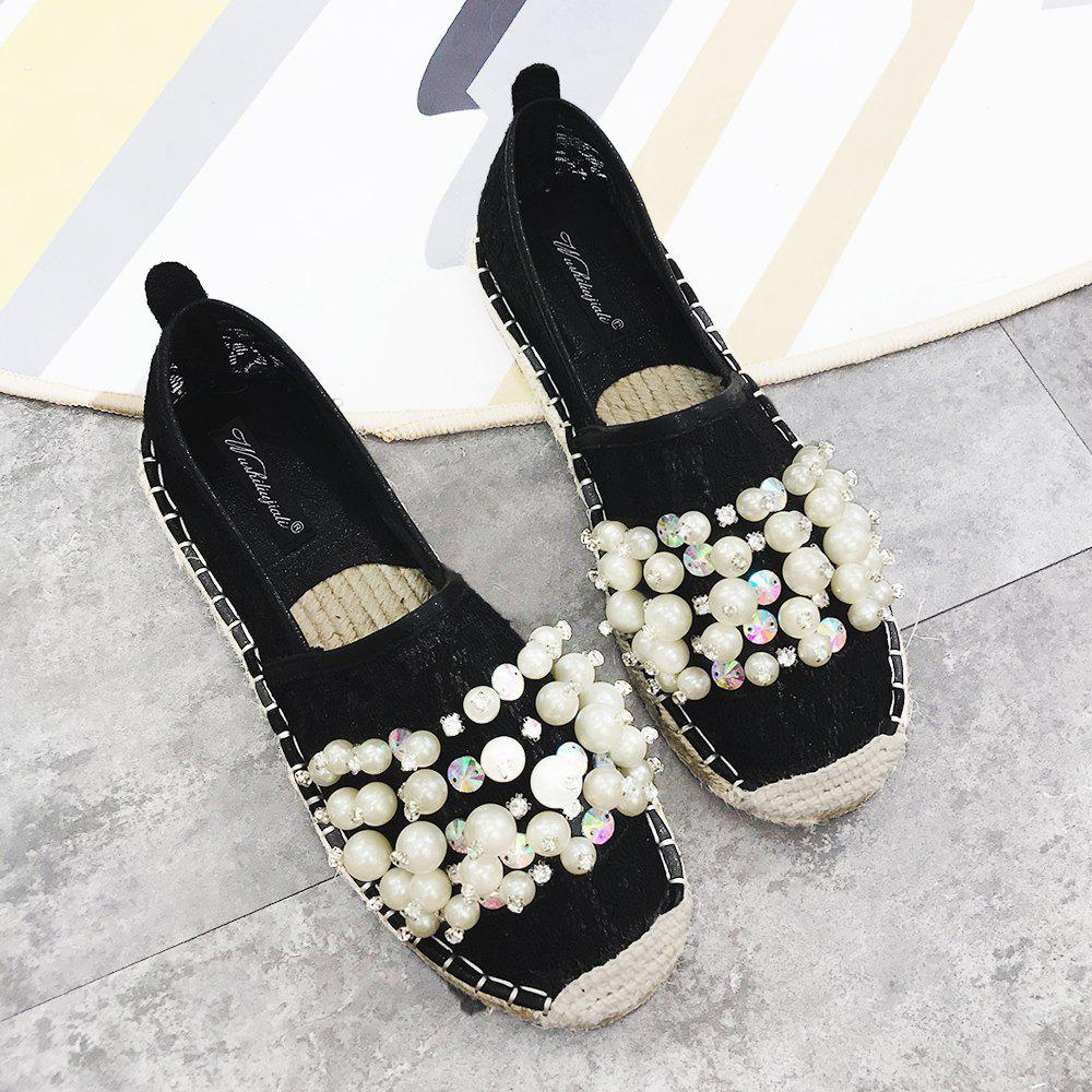 Slip On Mesh Faux Pearl Espadrille Flats - BLACK 38