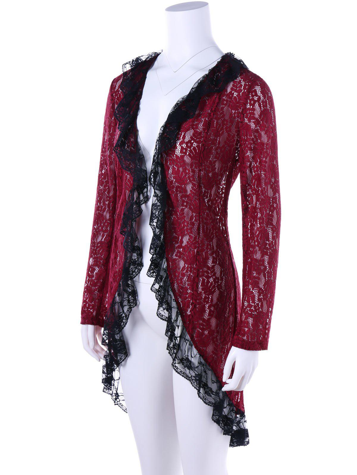 Two Tone Lace High Low Hem Cardigan - WINE RED M