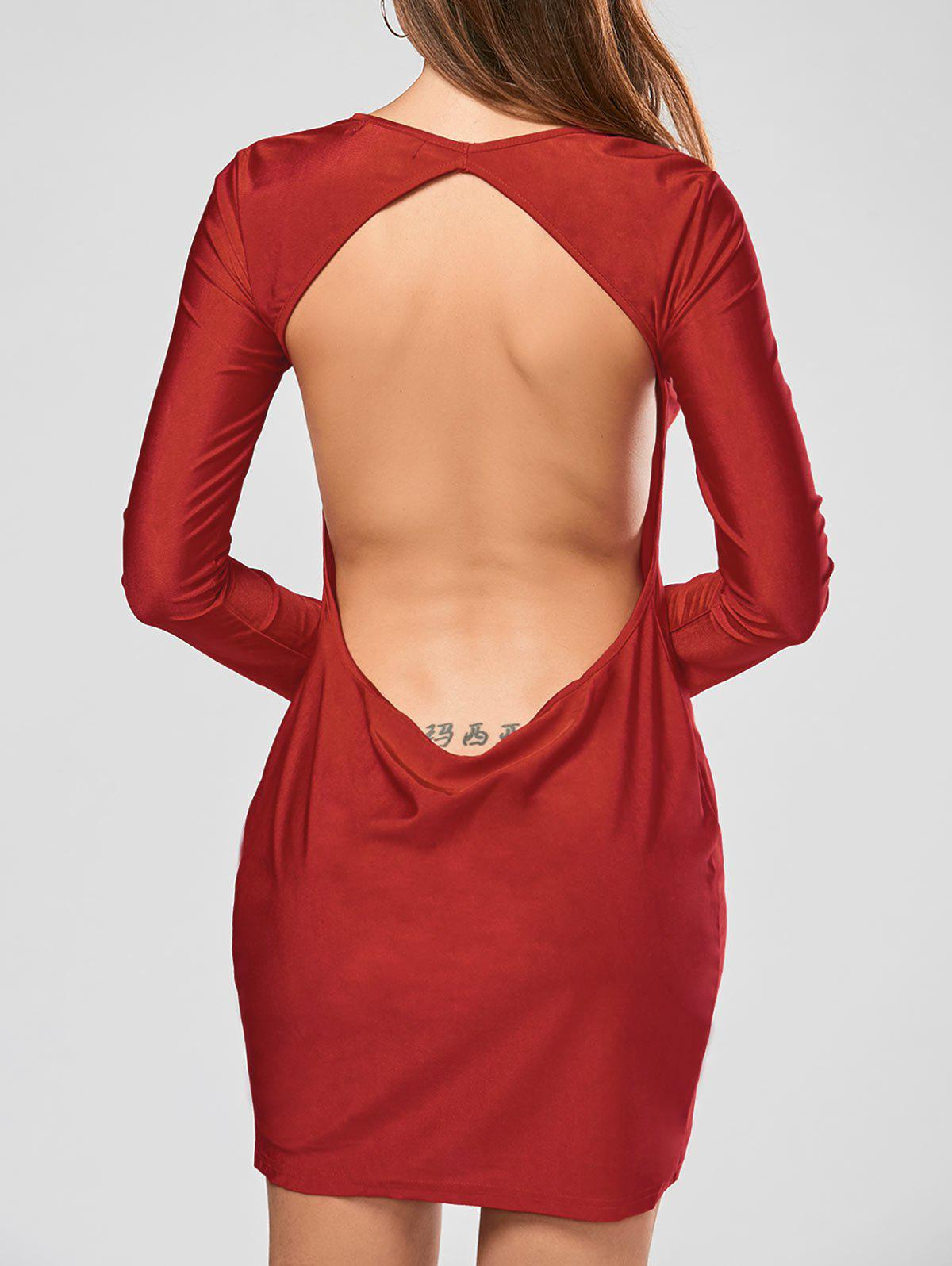 Scoop Collar Solid Color Backless Long Sleeves Women's Bodycon Dress - RED S