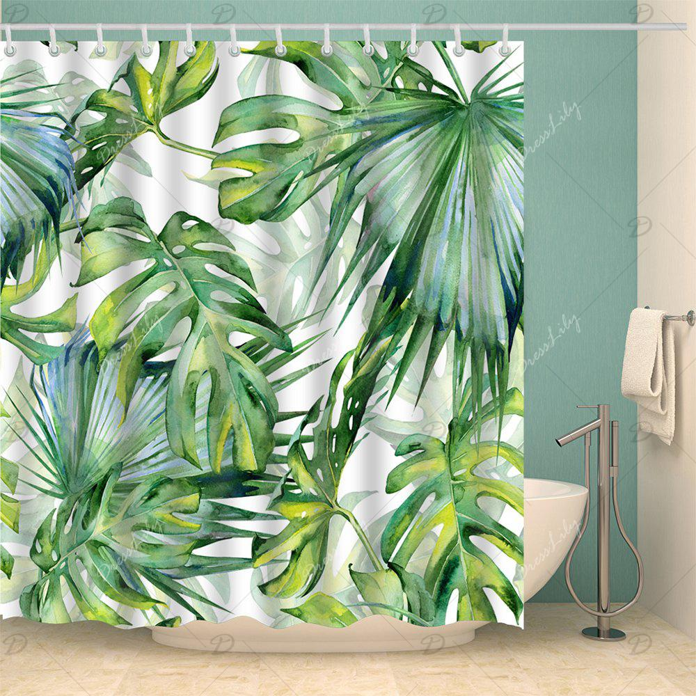 Fern Plants Watercolor Shower Curtain with Hooks - YELLOW GREEN W71 INCH * L71 INCH