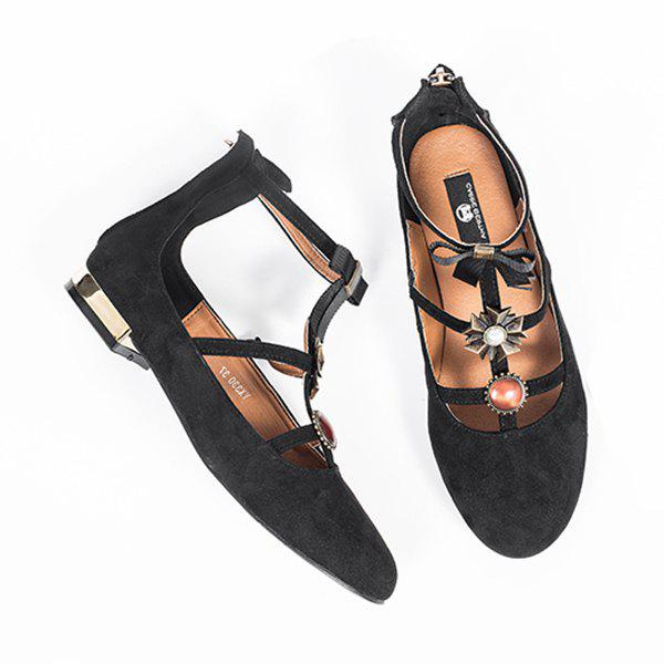 Bow and Rhinestone T-strap Faux Suede Flats - BLACK 37