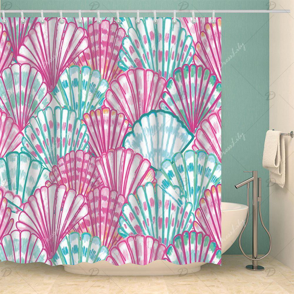 Water Resistant Watercolor Shell Bath Shower Curtain - COLORMIX W71 INCH * L79 INCH
