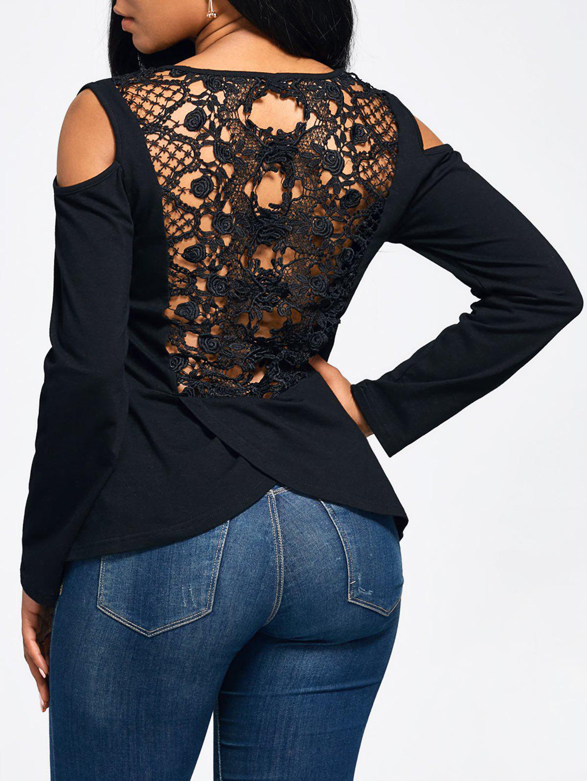 Long Sleeve Lace Back Cold Shoulder T-shirt