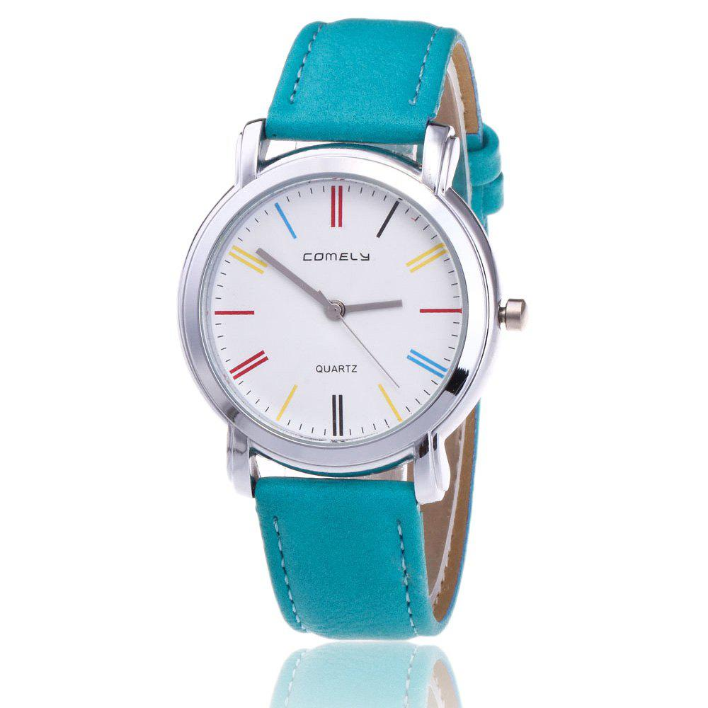Faux Leather Band Round Quartz Watch - GREEN