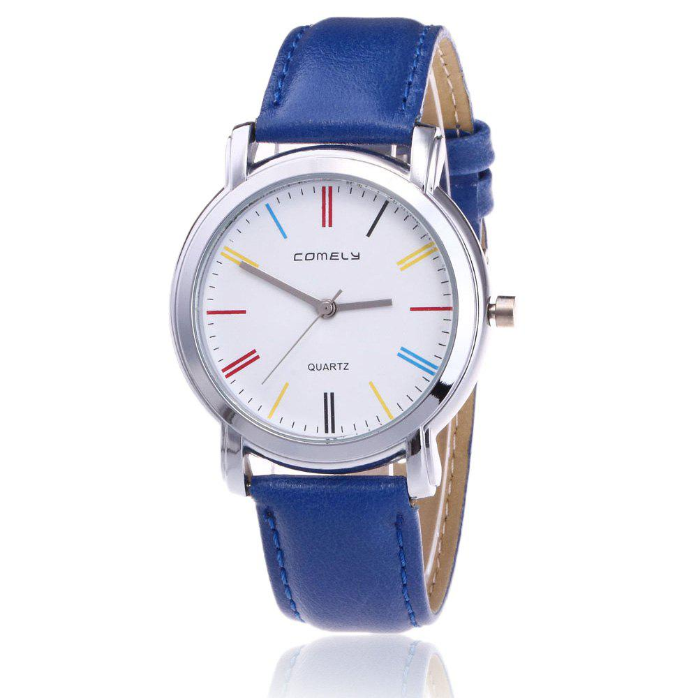 Montre à quartz rond en cuir Faux Leather - Bleu