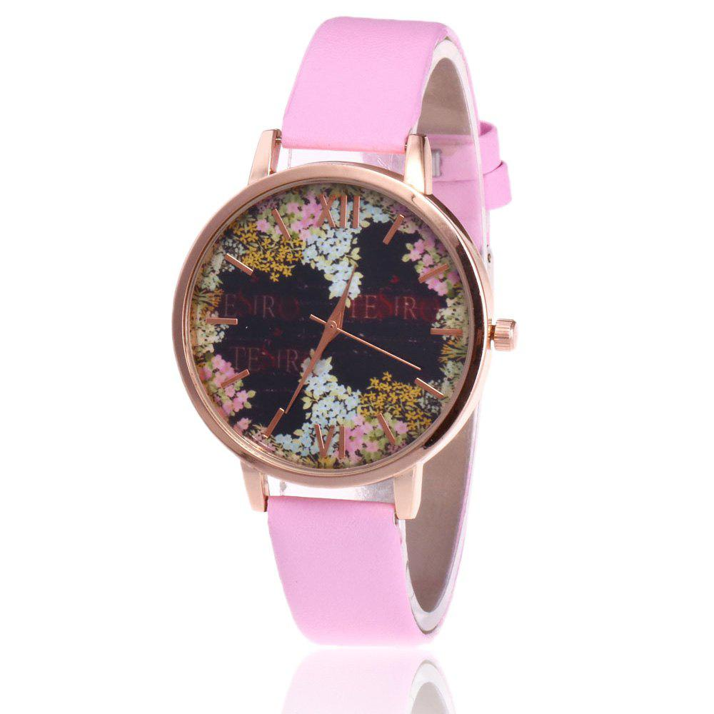 Montre en cuir floral Faux Leather - ROSE PÂLE
