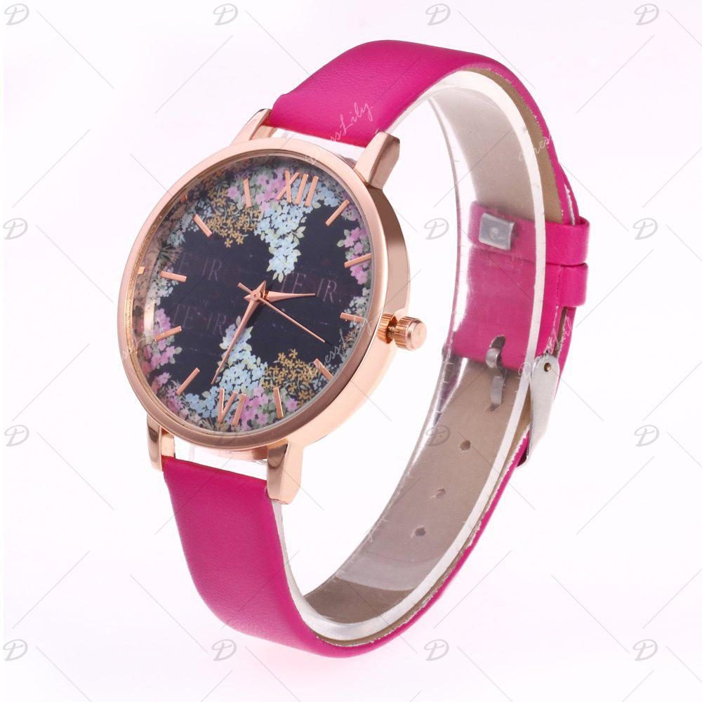 Floral Letter Face Faux Leather Watch - TUTTI FRUTTI