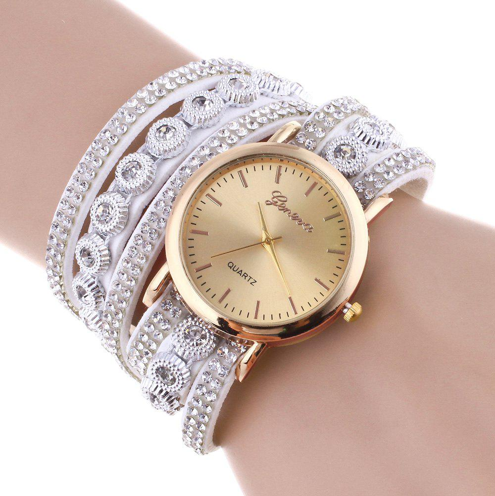 Rhinestoned Round Wrap Bracelet Watch - WHITE