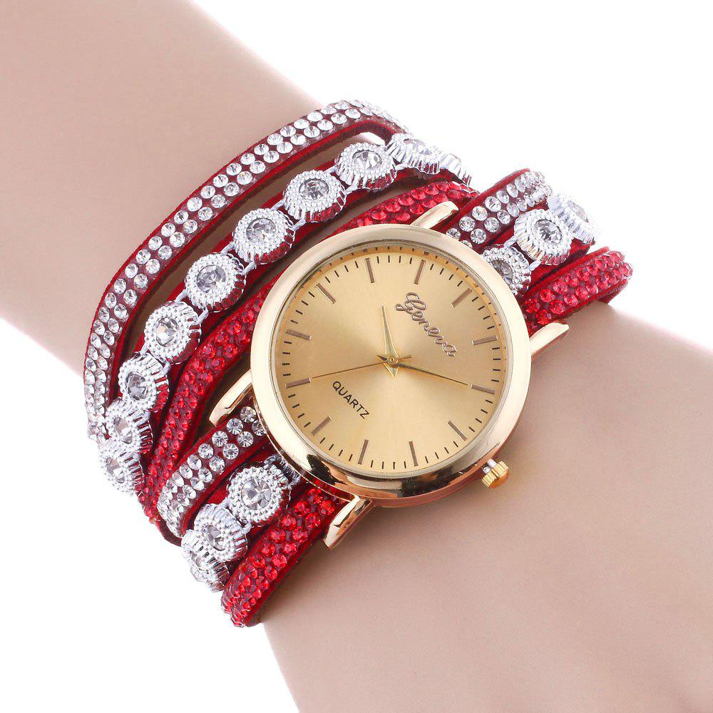 Rhinestoned Round Wrap Bracelet Watch - RED