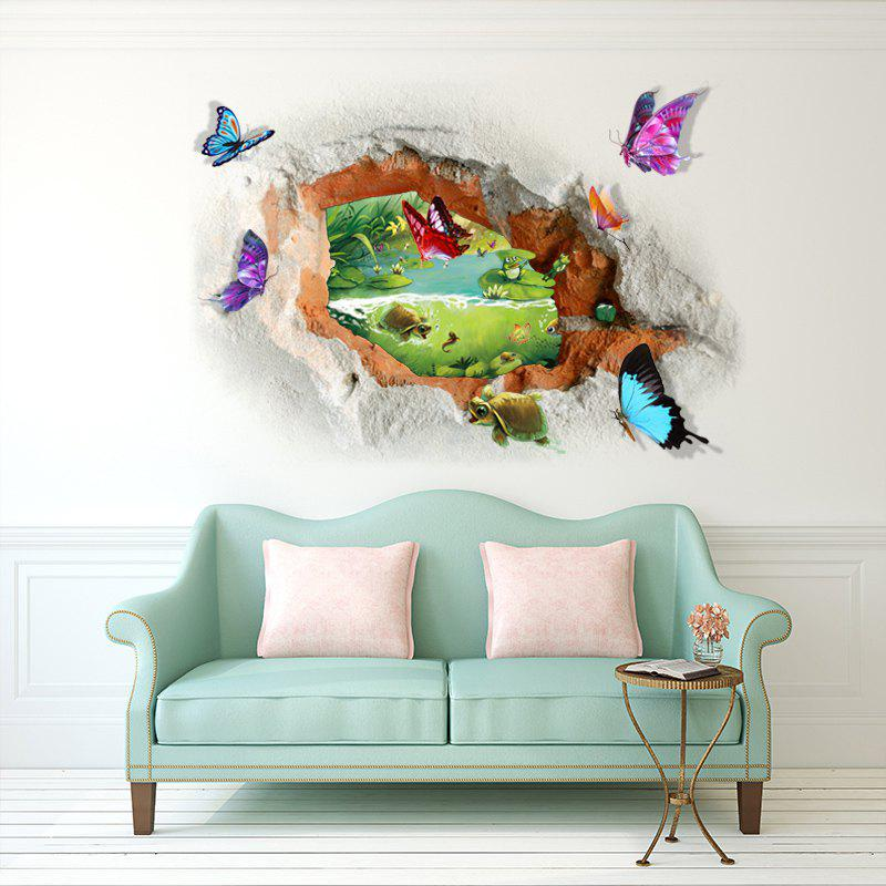 Butterfly Tortoise Pattern 3D Broken Wall Art Sticker flower bridge river pattern 3d wall art sticker