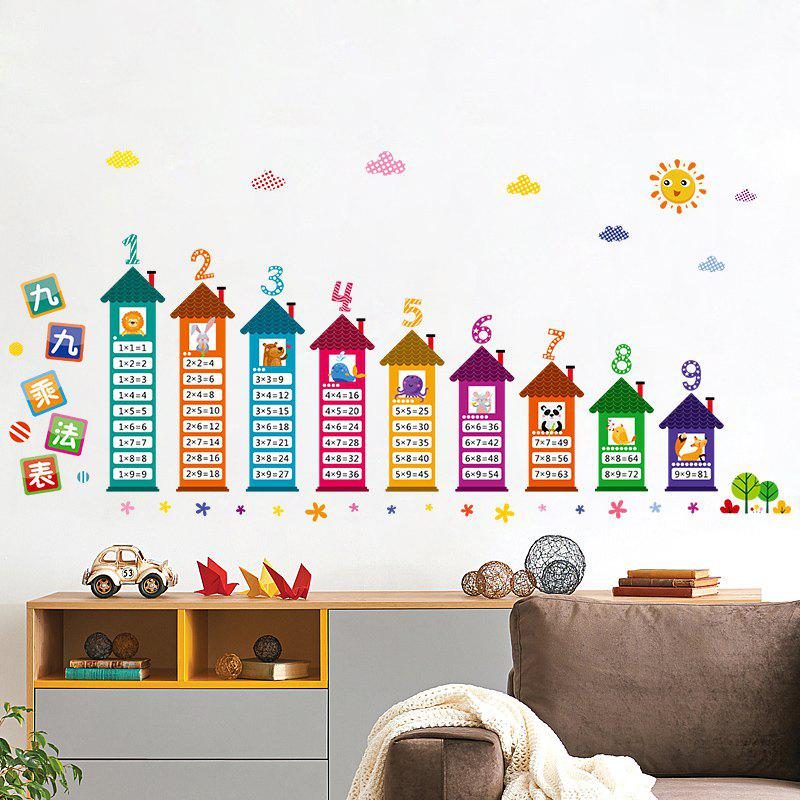 Multiplication Table Pattern Wall Art Sticker For Kids Room - COLORMIX 60*90CM
