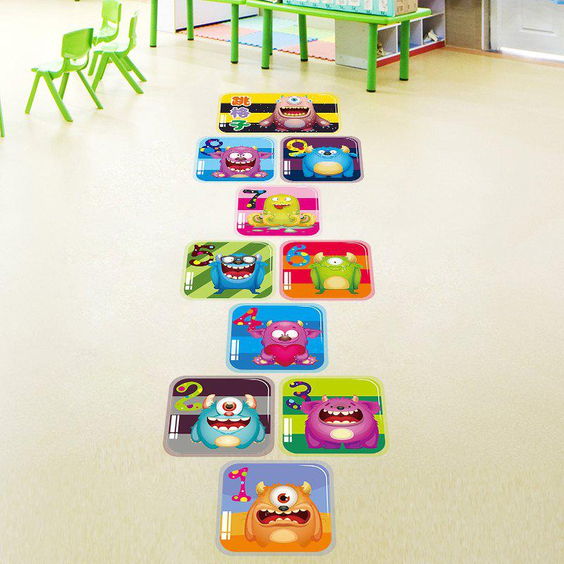 Monsters Hopscotch Wall Art Sticker For Children Room - COLORMIX 60*90CM
