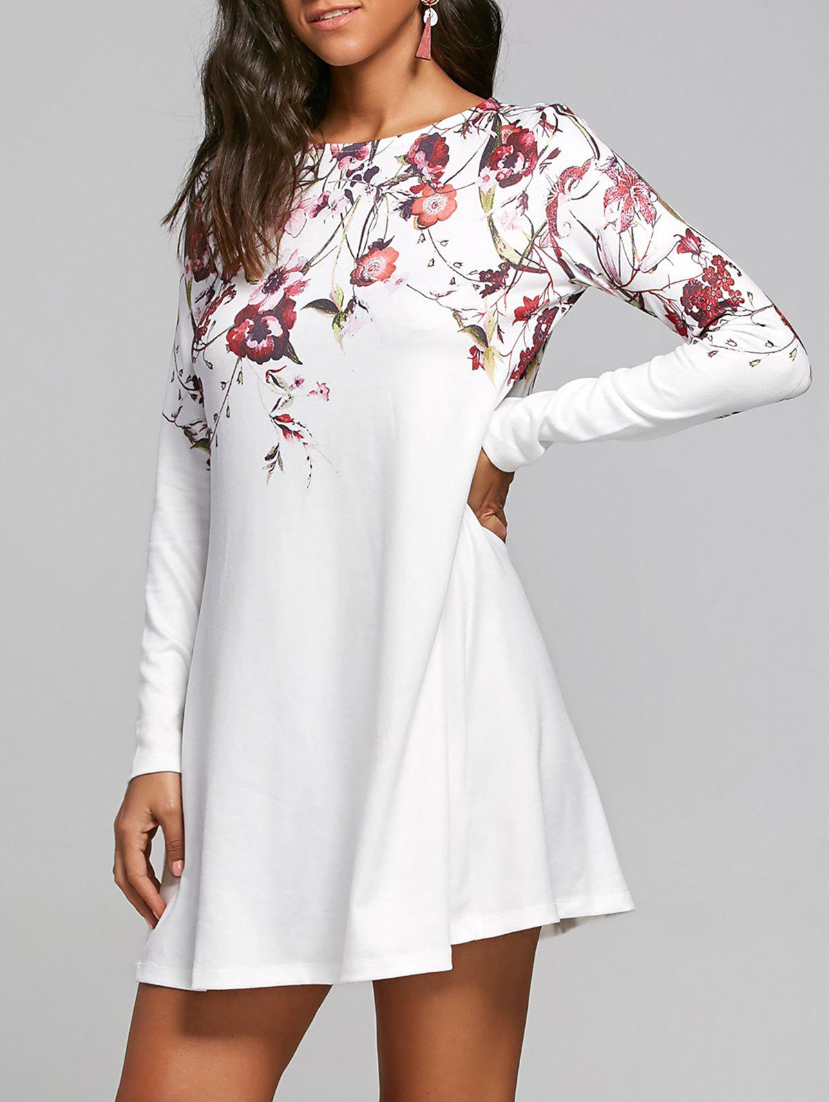 Long Sleeve Flower Print T-shirt Shift Dress - WHITE L