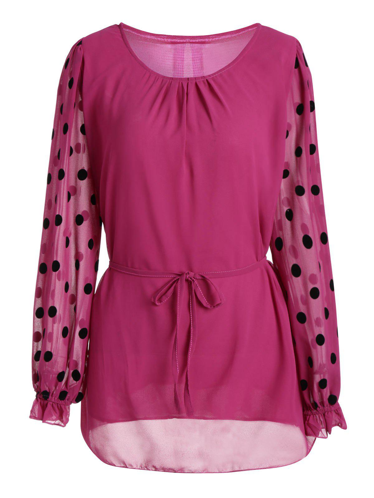 Polka Dot Plus Size Long Sleeve Chiffon Top - ROSE RED 3XL