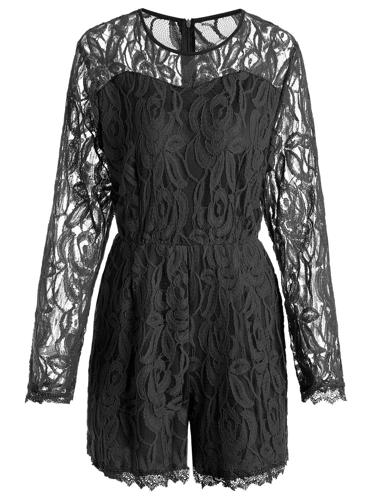 Lace Panel See Thru Plus Size Romper - BLACK 3XL