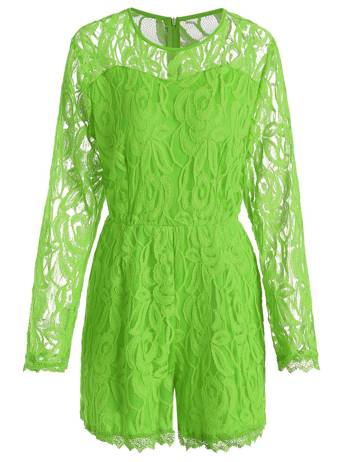Lace Panel See Thru Plus Size Romper - GREEN 3XL