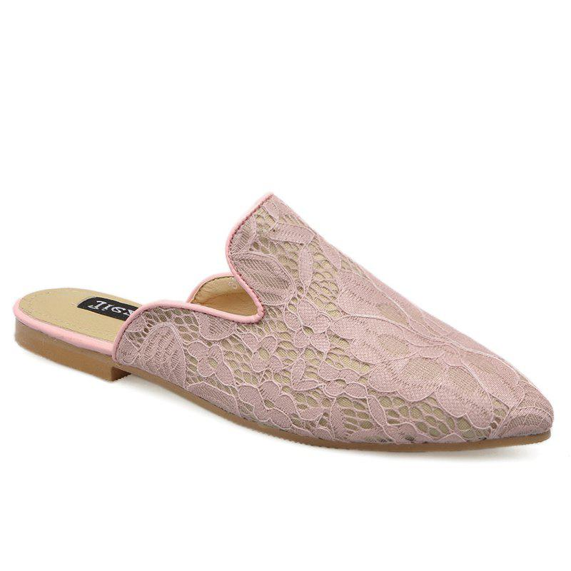 Embroidery Point Toe Lace Mules - LIGHT PINK 37