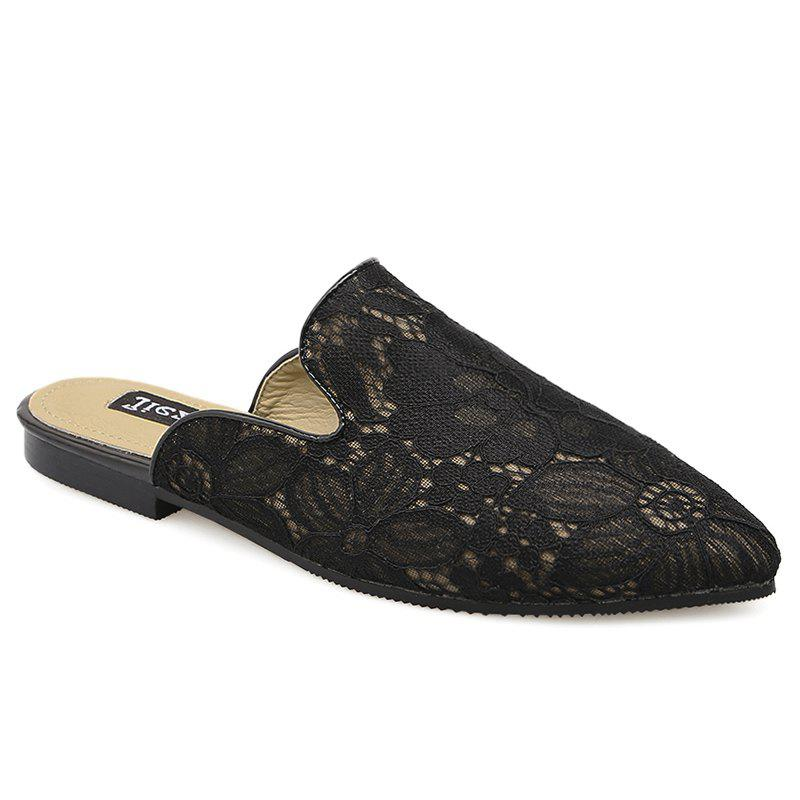 Embroidery Point Toe Lace Mules - BLACK 38