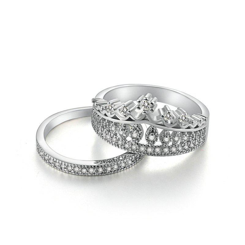 Sparkly Rhinestone Crown Finger Ring Set - Argent 8