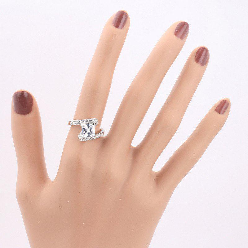 Faux Crystal Rhinestone Sparkly Finger Ring - Argent 6
