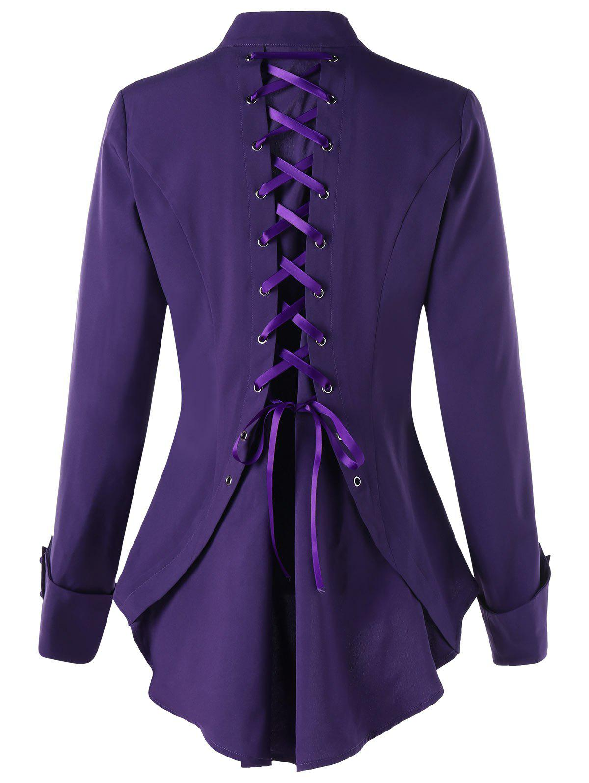 Long Sleeve Buttoned Lace Up Tunic Shirt - DEEP PURPLE 2XL