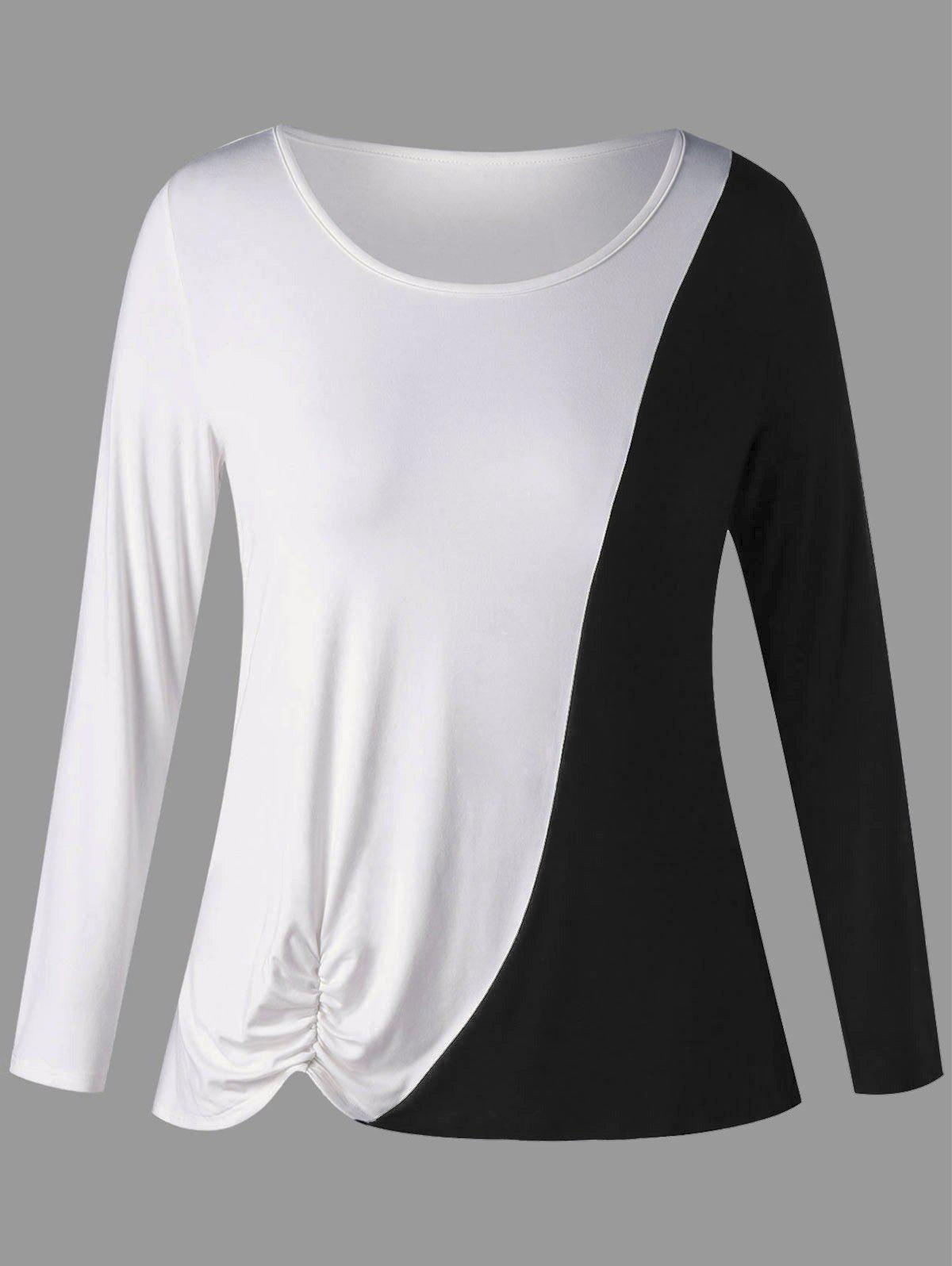 Plus Size Two Tone Long Sleeve Shirred T-shirt plus size v neck two tone t shirt