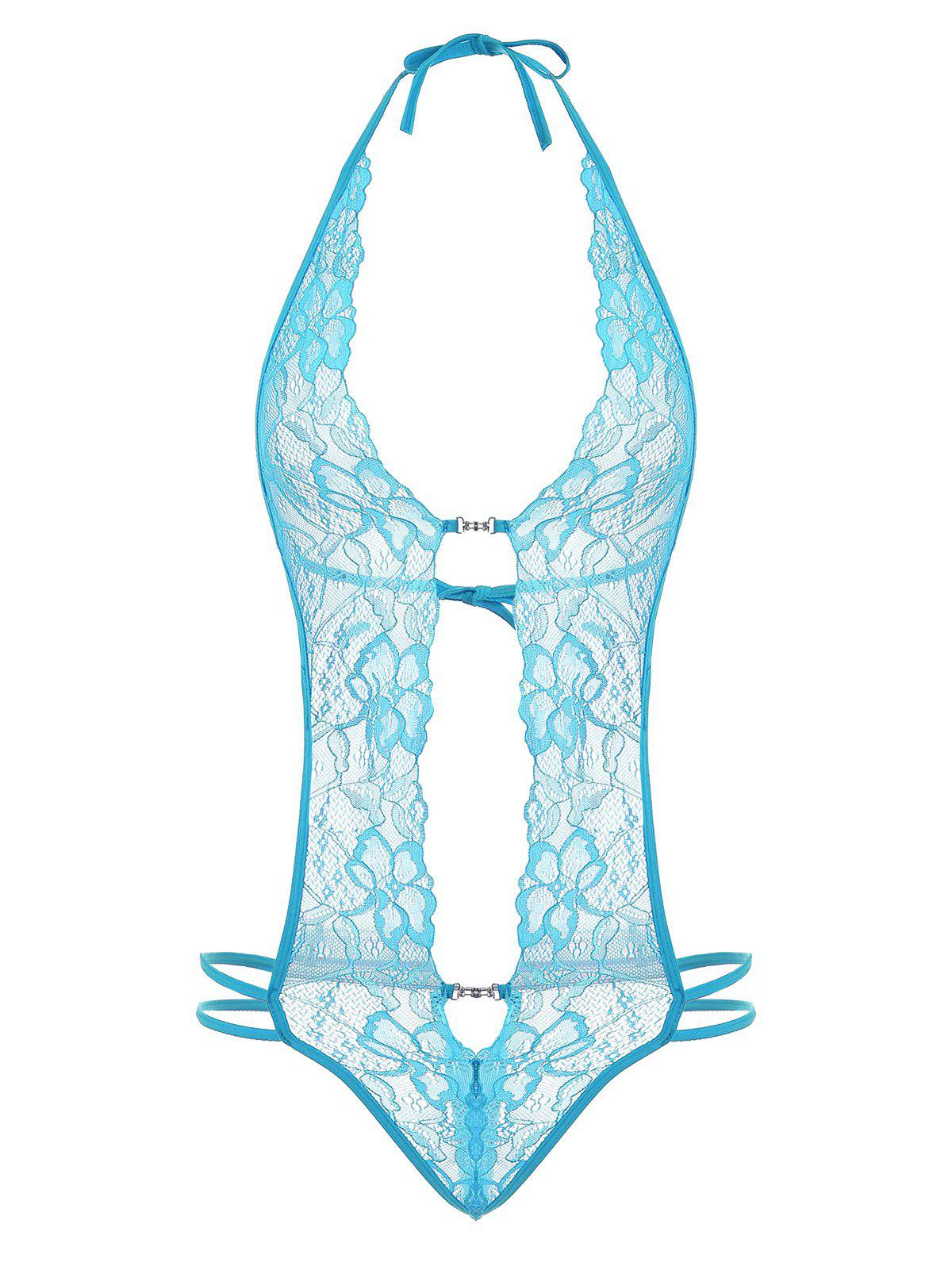 Low Cut Halter Lace Teddy - Bleu clair S
