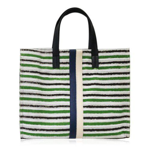 Color Block Canvas Striped Tote Bag - GREEN